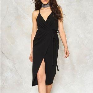 Nasty Gall Black Split Ways Wrap Dress